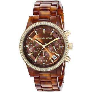 Michael Kors Women's MK6279 'Ritz' Chronograph Crystal Brown Resin Watch