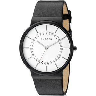 Skagen Men's SKW6243 'Ancher' Black Leather Watch