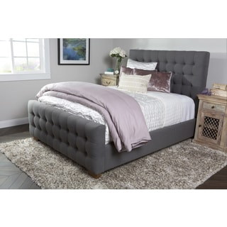 Kosas Home Skylar Grey Tufted Linen Eastern King Size Bed