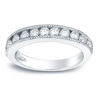 Auriya 3 4ct TW Milgrain Channel Set Diamond Wedding Band 14KT Gold