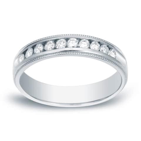 Auriya Men's 14k Gold Milgrain Diamond Wedding Band 1/2ctw