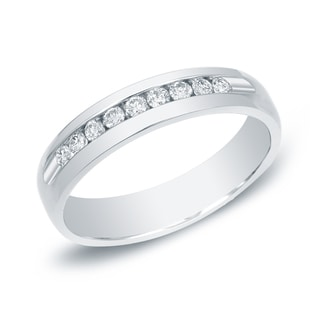 Auriya 14k Gold 1/2ct TDW Round-Cut Diamond Channel Band