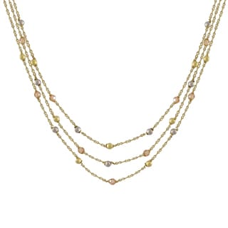 Luxiro Two-tone Matte Gold Finish Champagne Cubic Zirconia Necklace