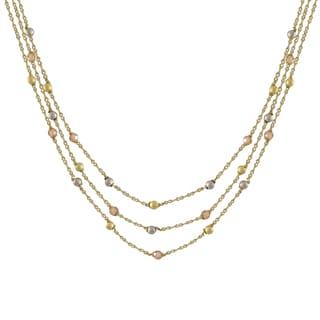 Luxiro Two-tone Matte Gold Finish Champagne Cubic Zirconia Necklace
