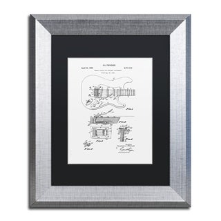 Claire Doherty 'Fender Guitar Tremolo Patent 1956 White' Black Matte, Silver Framed Wall Art