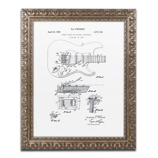 Claire Doherty 'Fender Guitar Tremolo Patent 1956 White' Gold Ornate Framed Wall Art