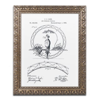 Claire Doherty 'One Wheeled Vehicle Patent 1885 White' Gold Ornate Framed Wall Art