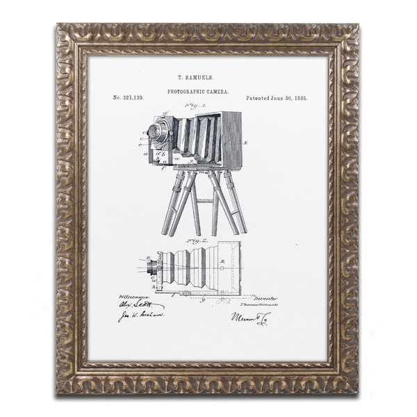 Claire Doherty 'Photographic Camera Patent 1885 White' Gold Ornate Framed Wall Art