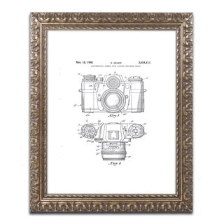 Claire Doherty 'Photographic Camera Patent 1962 White' Gold Ornate Framed Wall Art