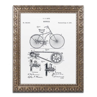Claire Doherty 'Bicycle Patent 1890 White' Gold Ornate Framed Wall Art