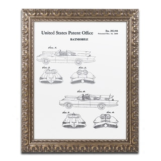 Claire Doherty 'Batmobile Car Patent 1966 White' Gold Ornate Framed Wall Art