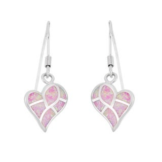 La Preciosa Sterling Silver Opal Heart Dangle Earrings