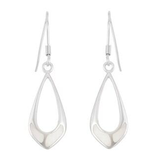 La Preciosa Sterling Silver Mother of Pearl Open Teardrop Dangle Earrings