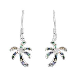La Preciosa Sterling Silver Abalone Palm Tree Dangle Earrings
