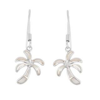 La Preciosa Sterling Silver Mother of Pearl Palm Tree Dangle Earrings