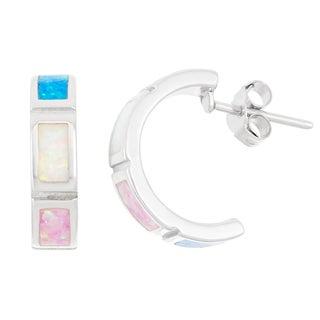 La Preciosa Sterling Silver Multi-Colored Opal Half-Hoop Earrings