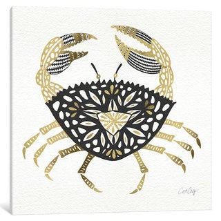 iCanvas Black Gold Crab Artprint by Cat Coquillette Canvas Print
