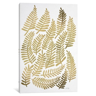 iCanvas Gold Fronds Artprint by Cat Coquillette Canvas Print