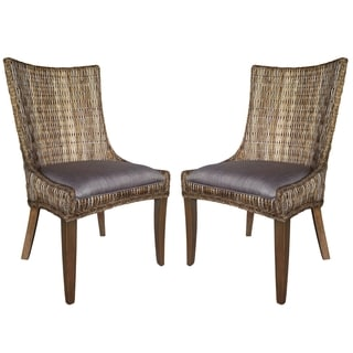 La Merenda Tropical Magazine Inspired Design Woven Wing Chairs (Set of 2)