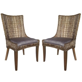 Tropical Design Rattan Woven Wing Chairs (Set of 2)