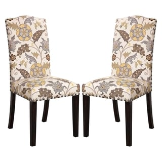 La Merenda Tropical Magazine Inspired Floral Design Parson Chairs (Set of 2)