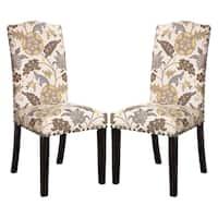 La Merenda Tropical Magazine Inspired Floral Design Parson Chairs (Set of 2)