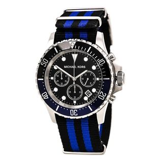 Michael Kors Men's MK8398 'Everest' Chronograph Black and blue Canvas Watch
