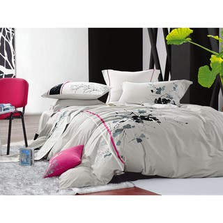 Egyptian Cotton Pink Stripe Embroidered 5 Piece Comforter Set