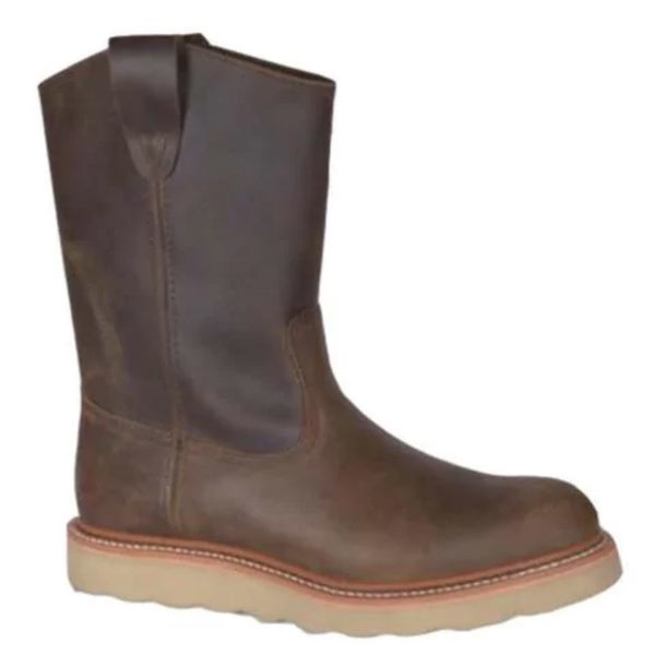 Men's Golden Retriever Footwear Crazy Horse Pull-On Wedge Brown Buffalo Leather Boots