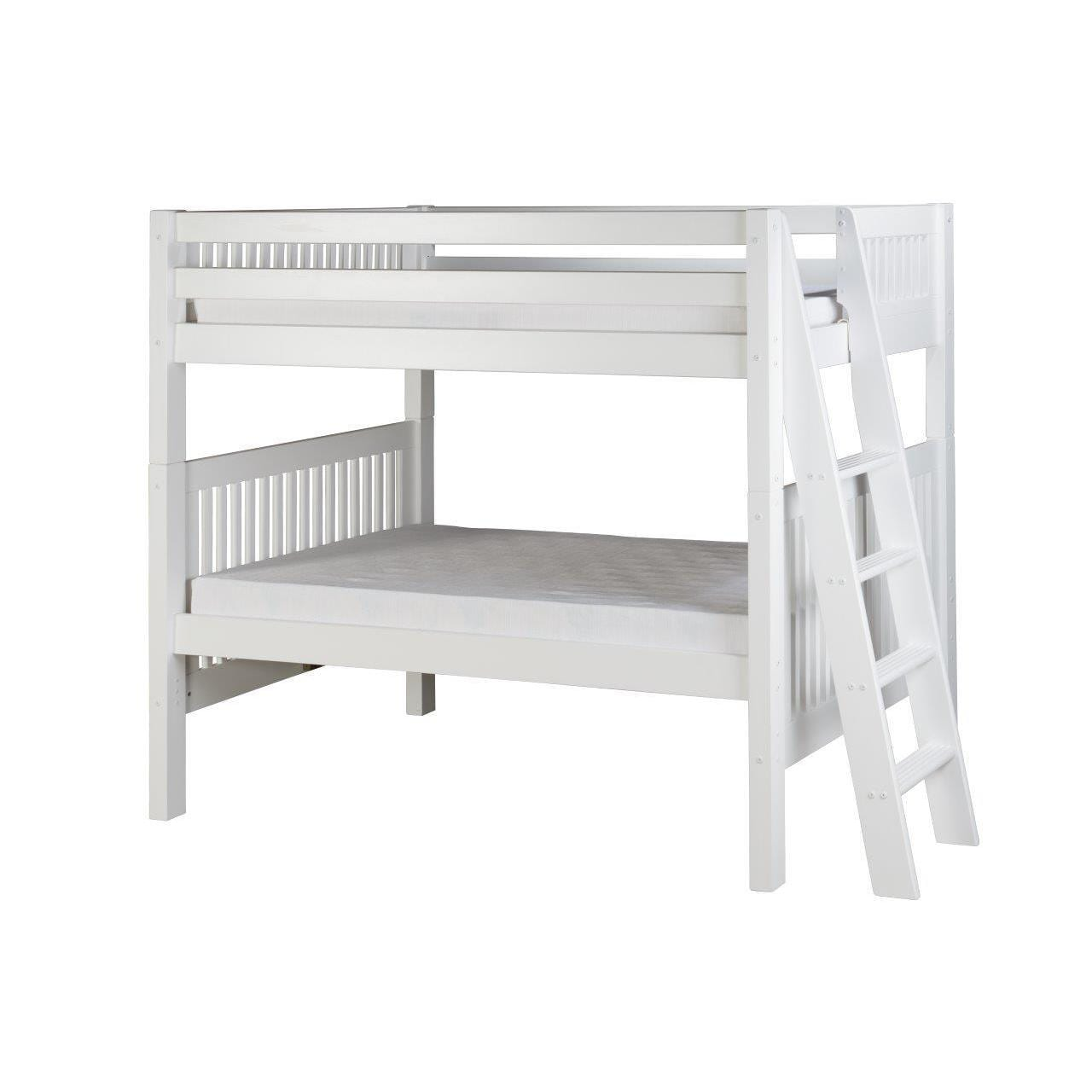 Picture of: Camaflexi Twin Size White Bunk Bed Mission Style Headboard With Lateral Angle Ladder Overstock 10734412