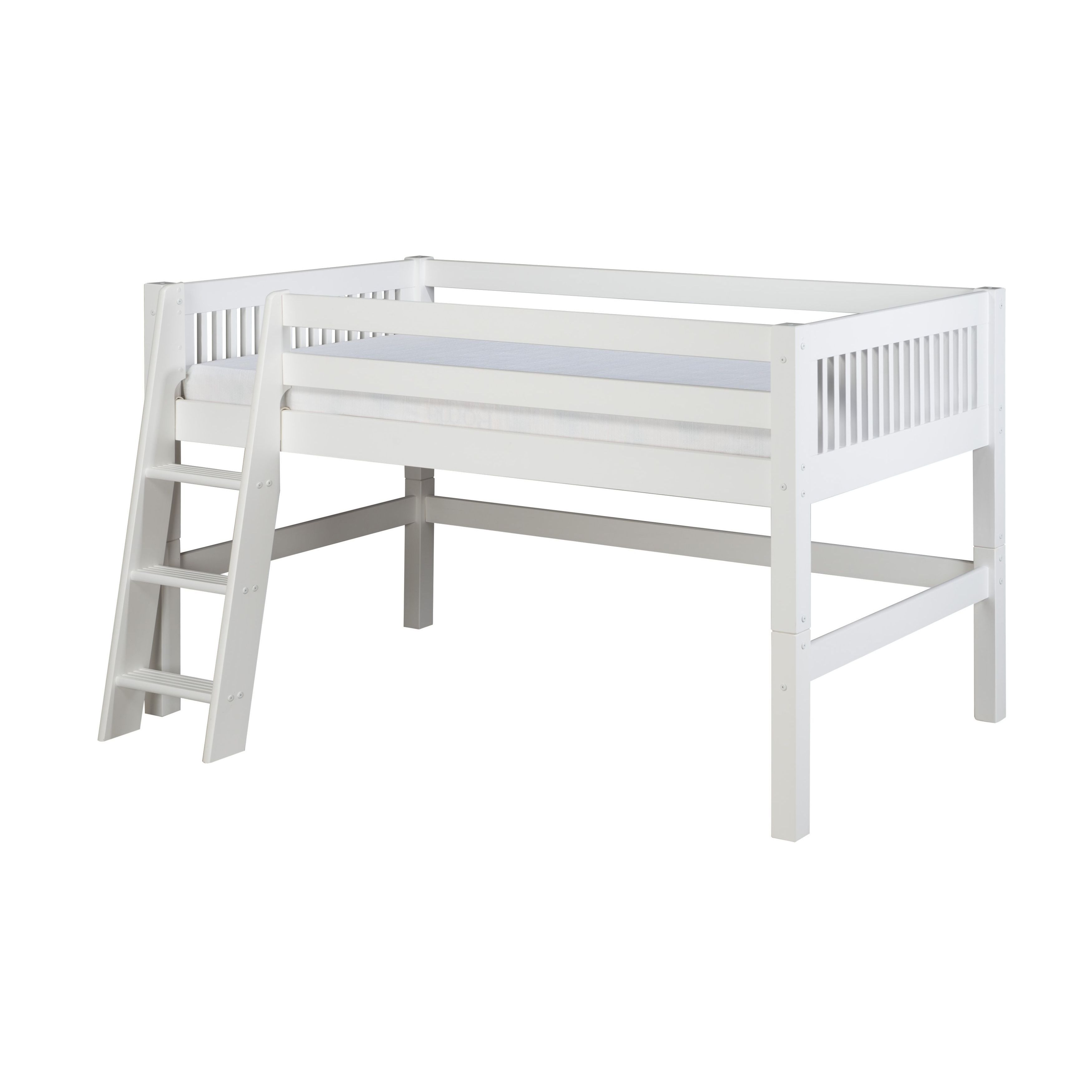 Picture of: Camaflexi Twin Size White Finish Low Loft Bed With Mission Headboard Overstock 10734509