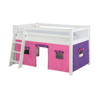 Camaflexi Twin-size White Finish Low Loft Playhouse Bed with Mission Headboard