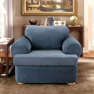 Sure Fit Stretch Stripe 2-piece T-cushion Chair Slipcover in Navy (As Is Item)