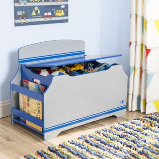 Jack & Jill Deluxe Toy Box w/ Book Rack, Blue / Grey