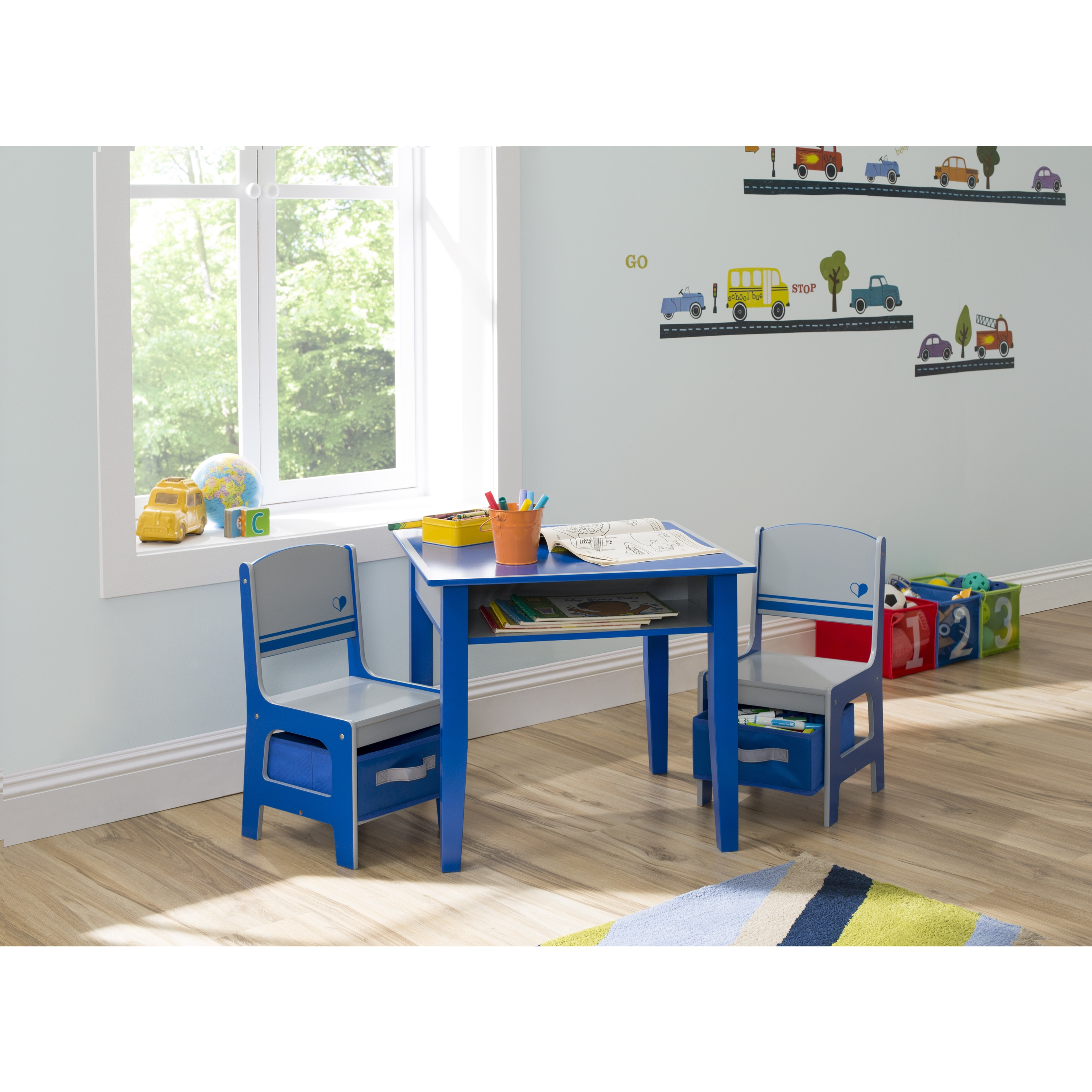 Delta Children Jack and Jill Blue/ Grey Storage Table and...