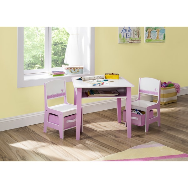 Jack U0026amp; Jill Storage Table And Chair Set, Pink / White   Multi