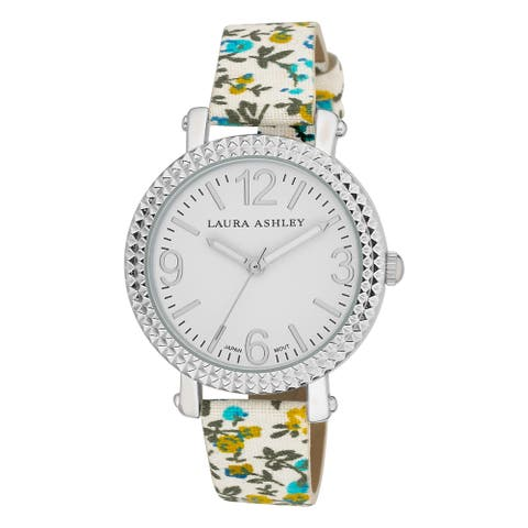 Laura Ashley Women's Floral Band Fluted Bezel Watch - Blue