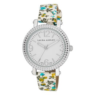 Laura Ashley Women's Floral Band Fluted Bezel Watch