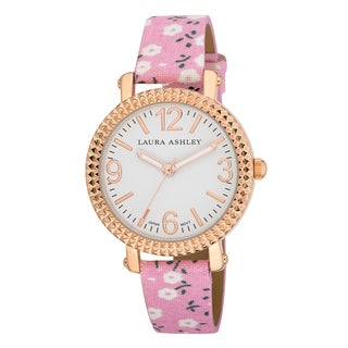 Laura Ashley Women's Floral Fluted Bezel Watch