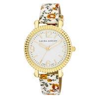 Laura Ashley Women's Floral Strap Fluted Bezel Watch - White