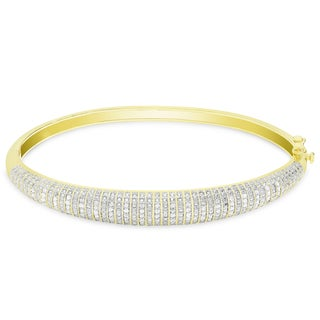 Link to Finesque Gold or Silver Overlay 1/2 ct TDW Diamond Bangle Similar Items in Bracelets