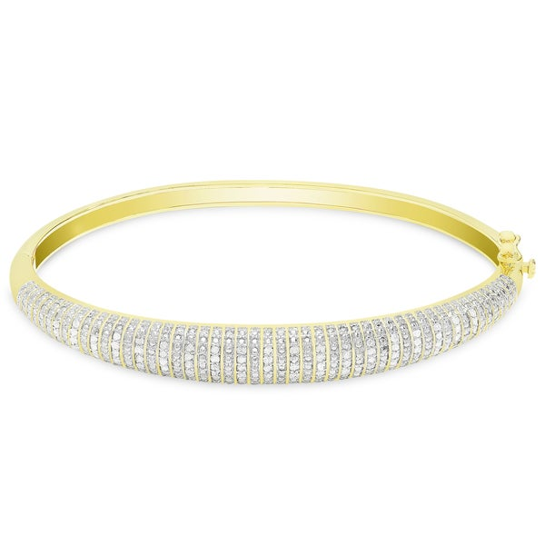 Finesque Gold or Silver Overlay 1/2 ct TDW Diamond Bangle. Opens flyout.