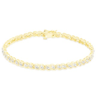 Finesque Sterling Silver 1 ct TDW Diamond Bracelet