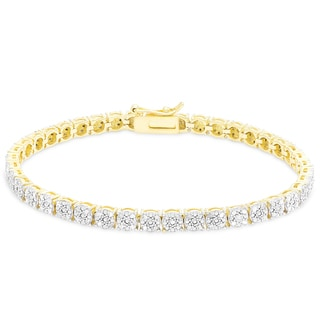 Finesque Sterling Silver or Gold Over Silver 1 ct TDW Diamond Bracelet