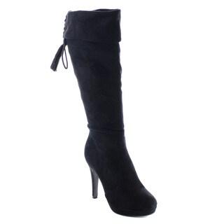 Beston AA75 Women's Platorm Stiletto Heel Fringe Lace Side Zip Knee High Boots