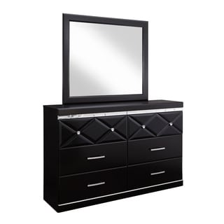 Signature Design by Ashley Fancee Black Dresser-mirror Combination