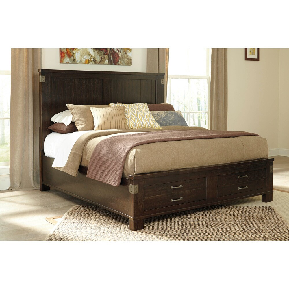 Ashley Haddigan Dark Brown Storage Bed (King Storage Bed)