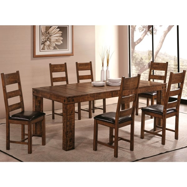 Lenox Bold Block Design Distressed Honey Rustic Dining Set