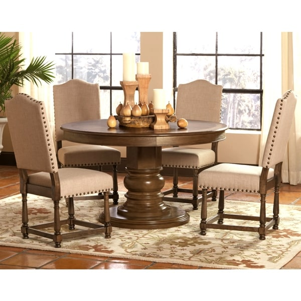 Amazing Dankona French Antique 5 Piece Round Dining Set With Nailhead Trim