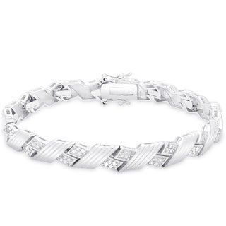 Finesque Sterling Silver 1/2 ct TDW Diamond 'X' Weave Bracelet